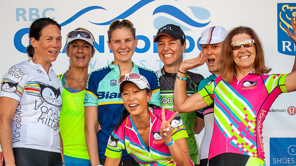 Ladies celebrate their ride in Whistler